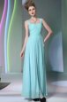 Aqua Blue Sleeveless Chiffon Zipper Prom Dresses for Prom and Party