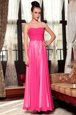 Luxurious Column/Sheath Prom Dresses Hot Pink Scoop Chiffon Sleeveless Ankle Length Zipper