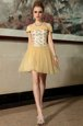 Spaghetti Straps Cap Sleeves Club Wear Mini Length Beading Gold Organza
