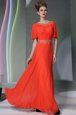 Fancy Scoop Ankle Length Coral Red Prom Evening Gown Chiffon Short Sleeves Appliques