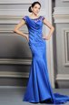 Designer Blue Zipper Scoop Beading Dress Like A Star Satin Sleeveless Court Train