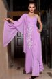 Customized Lilac Column/Sheath Chiffon Square Half Sleeves Beading and Ruching Ankle Length Side Zipper Formal Dresses