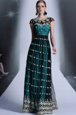 Fantastic Scoop Teal Side Zipper Prom Dresses Appliques and Pleated Cap Sleeves Floor Length