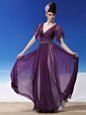 Decent Column/Sheath Homecoming Dress Dark Purple V-neck Chiffon Short Sleeves Ankle Length Side Zipper