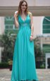 Fabulous Floor Length Aqua Blue Prom Party Dress V-neck Sleeveless Side Zipper