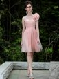Luxury Column/Sheath Evening Dress Peach One Shoulder Tulle Sleeveless Knee Length Side Zipper