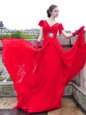 Red V-neck Lace Up Beading and Ruching Prom Evening Gown Brush Train Cap Sleeves