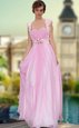 Floor Length Rose Pink Dress for Prom Sweetheart Sleeveless Zipper