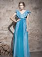 Simple Sequins Evening Dress Teal Zipper Cap Sleeves Floor Length