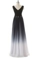Modern Empire Dress for Prom Black V-neck Chiffon Sleeveless Floor Length Lace Up