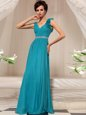 Clearance Teal V-neck Side Zipper Ruffles Mother Of The Bride Dress Sleeveless