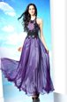 Customized Purple Halter Top Zipper Lace Prom Party Dress Sleeveless