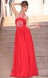 Latest Coral Red Halter Top Side Zipper Embroidery Evening Party Dresses Sleeveless