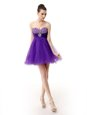 Luxurious Purple Sleeveless Knee Length Beading Zipper Prom Gown