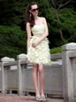Decent Light Yellow Chiffon Zipper Prom Dresses Sleeveless Knee Length Beading and Ruffles