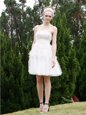 Amazing Strapless Sleeveless Zipper Prom Evening Gown White Organza