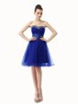 Modest Sequins Ruffled A-line Evening Dress Royal Blue Sweetheart Organza Sleeveless Knee Length Lace Up
