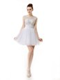 Scoop White A-line Beading and Ruching Prom Gown Zipper Organza Cap Sleeves Mini Length