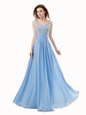Sleeveless Chiffon and Sequined Floor Length Side Zipper Dress for Prom in Blue for with Beading