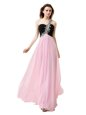 One Shoulder Pink And Black Sleeveless Beading and Appliques and Ruffles Floor Length Prom Dress