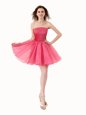 Beading Dress for Prom Hot Pink Lace Up Sleeveless Knee Length