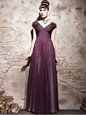 Glittering Purple Chiffon Side Zipper Mother Of The Bride Dress Cap Sleeves Floor Length Beading and Ruching