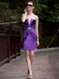 Flirting Satin V-neck Sleeveless Zipper Beading and Appliques Cocktail Dress in Purple