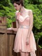One Shoulder Sleeveless Chiffon Floor Length Side Zipper Prom Dresses in Pink for with Beading