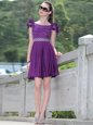 Scoop Purple Sleeveless Knee Length Beading and Hand Made Flower Zipper Prom Gown