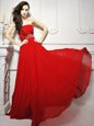 Colorful Sleeveless With Train Beading and Ruching Lace Up Prom Evening Gown with Red Brush Train