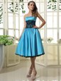 Captivating Baby Blue Satin Zipper Prom Gown Sleeveless Tea Length Lace