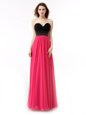 Pink And Black Chiffon Lace Up Sweetheart Sleeveless Floor Length Prom Evening Gown Beading and Ruffles