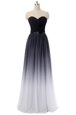 Lovely Black Lace Up Sweetheart Belt Prom Evening Gown Chiffon Sleeveless