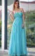 Captivating Sweetheart Sleeveless Zipper Aqua Blue Chiffon