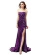 Mermaid Sleeveless Floor Length Beading and Ruffles Side Zipper Celeb Inspired Gowns with Purple Brush Train