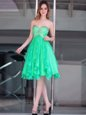 A-line Prom Dress Green Sweetheart Organza Sleeveless Floor Length Zipper