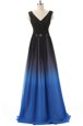 Blue And Black V-neck Lace Up Beading Prom Evening Gown Brush Train Sleeveless