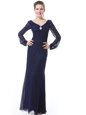 Adorable Navy Blue V-neck Neckline Ruching Mother Of The Bride Dress Long Sleeves Side Zipper