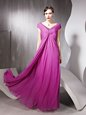 Modern Rose Pink Empire Beading and Ruching Zipper Tulle Cap Sleeves Floor Length