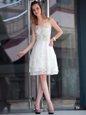 Sophisticated White Sleeveless Organza Zipper for Prom and Party