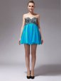Fancy Aqua Blue Tulle Zipper Sleeveless Mini Length Beading