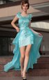 Aqua Blue Scoop Zipper Beading and Sequins Cocktail Dress Sleeveless