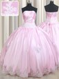 Sleeveless Taffeta Floor Length Lace Up 15th Birthday Dress in Baby Pink for with Appliques