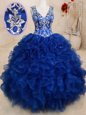 Vintage Royal Blue Ball Gowns Organza V-neck Sleeveless Beading and Embroidery and Ruffles Floor Length Backless 15 Quinceanera Dress