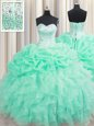Beautiful Sleeveless Lace Up Floor Length Beading and Ruffles and Pick Ups Sweet 16 Dress