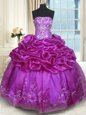 Sweetheart Sleeveless Quince Ball Gowns Floor Length Beading and Appliques Purple Organza