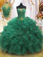 Suitable Strapless Sleeveless 15th Birthday Dress Floor Length Beading and Ruffles Dark Green Organza