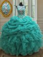 Extravagant Scoop See Through Sleeveless Floor Length Beading and Ruffles and Pick Ups Lace Up Quince Ball Gowns with Turquoise