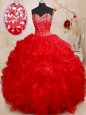 Graceful Red Sleeveless Beading and Ruffles Floor Length Quinceanera Gown