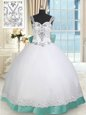 Straps Floor Length White and Green 15th Birthday Dress Taffeta and Tulle Sleeveless Beading and Lace and Bowknot